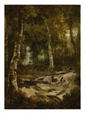 Forest Landscape with Stag Hunt, C.1665 (Oil on Canvas) Giclee Print by Jan Or Joan Hackaert