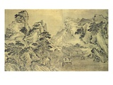 View from the Keyin Pavilion on Paradise (Baojie) Mountain, 1562 (Ink on Silk) Giclee Print by Wang Wen