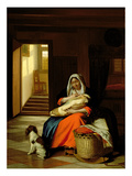 Mother Nursing Her Child, 1674-76 Giclee Print by Pieter de Hooch