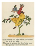 There Was an Old Lady Whose Folly Induced Her to Sit in a Holly Giclee Print by Edward Lear