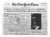 Martin Luther King Is Slain in Memphis, from the Front Page of 'The New York Times', 5th April 1968 Giclee Print by  American