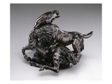 Lion Attacking Horse. C.1580/90 (Bronze) Giclée-Druck von Antonio Susini