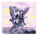 Perseus on the Winged Horse Pegasus, with Medusa's Head Giclee Print by  English