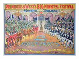 Poster Featuring 'Primrose and West's Big Minstrel Festival, C.1880 (Colour Litho) Gicléedruk van American