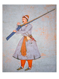 Officer of the Mughal Army, C.1585 (Colour Litho) Giclee Print by  Indian