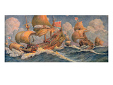 Merchant Ships of 1640, from 'Le Journal De La Decoration' (Colour Litho) Giclee Print by Robert Morton Nance