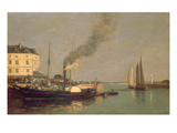 Honfleur. La Jetee, 1854-57 (Oil on Panel) Giclee Print by Eugène Boudin