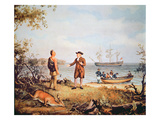 William Penn Arrives in America for the First Time and Meets a Native American in 1682 Giclee Print by Thomas Birch
