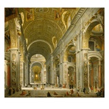 Interior of St. Peter's, Rome, 1750 Giclee Print by Giovanni Paolo Panini