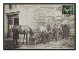 Postcard Depicting the Shoeing of a Horse in Cornes, Le Velay, C.1900 (B/W Photo) Giclee Print by  French Photographer