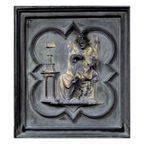 St Augustine, Panel H of the North Doors of the Baptistery of San Giovanni, 1403-24 (Bronze) Giclée-tryk af Lorenzo Ghiberti