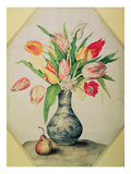 Blue China Vase of Tulips (Tempera on Vellum) Giclee Print by Giovanna Garzoni