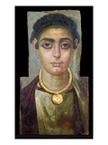 Mummy Portrait: Head of a Woman, Egyptian, 130-160 Ad (Encaustic with Gilded Stucco on Wood) Giclee Print