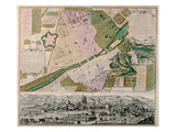 Map of Florence with a Perspectival View, 1750 (Engraving) Giclee Print by Matthaus Seutter