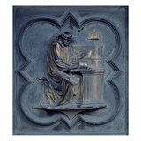 St Jerome, Panel F of the North Doors of the Baptistery of San Giovanni, 1403-24 (Bronze) Giclée-tryk af Lorenzo Ghiberti