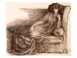 Mrs. Jane Morris Reclining on a Sofa Premium Giclee Print by Dante Gabriel Rossetti