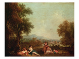 Classical Figures in an Italian Landscape Giclee Print by Francesco Zuccarelli