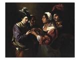 The Fortune Teller, c.1616/17 Giclée-tryk af Bartolomeo Manfredi