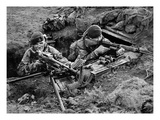 Royal Marine Comandos Man a Trench at San Carlos, 1982 (B/W Photo) Giclee Print by  English Photographer