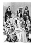 Madame De Saint-Cyr, a Nun, a Novice and Young Girls of the Four Classes (Engraving) Premium Giclee Print by after Chevignard