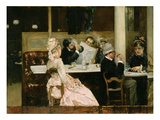 Cafe Scene in Paris, 1877 Premium Giclee Print by Henri Gervex