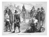 Samoset, Chief of the Pemaquids Visits the Pilgrim Fathers in 1621 (Litho) Premium Giclee Print by  American