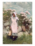 Girl and Laurel, 1879 Giclée-Druck von Winslow Homer