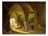 Numerous Figures in a North African Bazaar, 1839 Giclee Print by Charles Theodore Frere