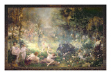 The Joys of Life: Flowers, Women, Music (Mural) Reproduction procédé giclée par Alfred Roll
