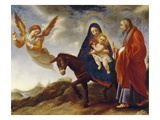 The Flight into Egypt, C.1648/50 (Oil on Canvas) Gicle-tryk af Carlo Dolci
