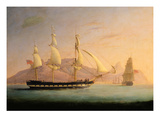 East Indiaman Outward Bound Off Cape Town and Table Mountain (Seen in Two Positions) Giclée-tryk af Thomas Whitcombe