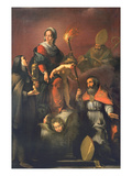 Madonna and Child with St. Clare, St. Ambrose and St. Erasmus Giclee Print by Bernardo Strozzi