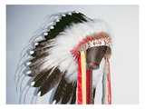 Tribal Headdress, Sioux Tribe (Textile and Feathers) Giclee Print by  American