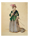 Costume Design for Dona Elvire in an 1847 Production of &#39;Don Juan&#39; by Moliere (1622-73) Giclee Print by Achille Deveria