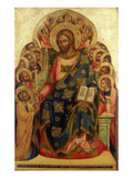 Christ Enthroned with Saints and Angels Handing the Key to St. Peter Giclee Print by Veneziano Lorenzo