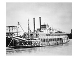 A Stern-Wheeler Loaded with Cotton Bales at New Orleans, C.1900 (B/W Photo) Giclee Print by  American