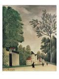 Village Street Scene, 1909 Giclee Print by Henri J.F. Rousseau