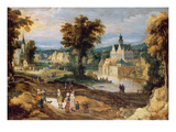 Figures in a Landscape with Village and Castle Beyond (Panel) Giclee Print by Joos or Josse de, The Younger Momper