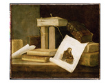 Still Life of Books and a Rembrandt Engraving Giclee Print by Sebastian Stoskopff
