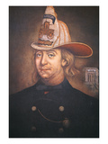Benjamin Franklin Wearing the Uniform of the Union Fire Company Which He Founded in Philadelphia Giclee Print by  American
