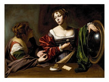 The Conversion of the Magdalene, C.1598 (Oil and Tempera on Canvas) Giclée-tryk af Caravaggio
