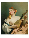 Girl with a Mandolin, 1755-60 Giclee Print by Giovanni Battista Tiepolo