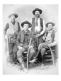 Texas Rangers Armed with Revolvers and Winchester Rifles, 1890 (B/W Photo) Giclee Print by  American Photographer