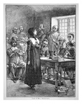Anne Hutchinson on Trial for Offending the Puritan Clergy in Massachusetts (Litho) Giclee Print by  American