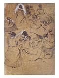 Twelve Studies of Women in Costume of the Second Empire (Pen and Ink on Buff Paper) Premium Giclee Print by Edgar Degas