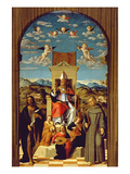 St. Thomas a Becket (1118-70) Enthroned with Ss. Francis and John the Baptist 1520 (Oil on Panel) Giclee Print by Girolamo da Santacroce
