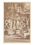 T34029 a Quaker Prayer Meeting (Pen and Ink on Paper) Giclee Print by Egbert Van Heemskerck