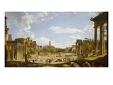 View of the Roman Forum, 1735 (Oil on Canvas) Giclee Print by Giovanni Paolo Panini