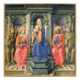 Madonna and Child Enthroned with SS. Francis, Cosmas, Damian and Anthony of Padua, C.1442-45 Giclee Print by Fra Filippo Lippi