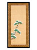 Hanging Scroll Depicting a Snow Clad Pine, from a Triptych of the Three Seasons, Japanese Giclee Print by Sakai Hoitsu